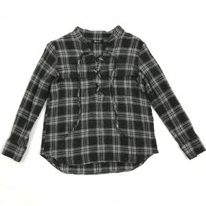 Madewell Plaids Wool V-Neck L/S Lace Pullover Top